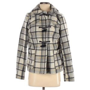 Old Navy l Grey Plaid Toggle Coat